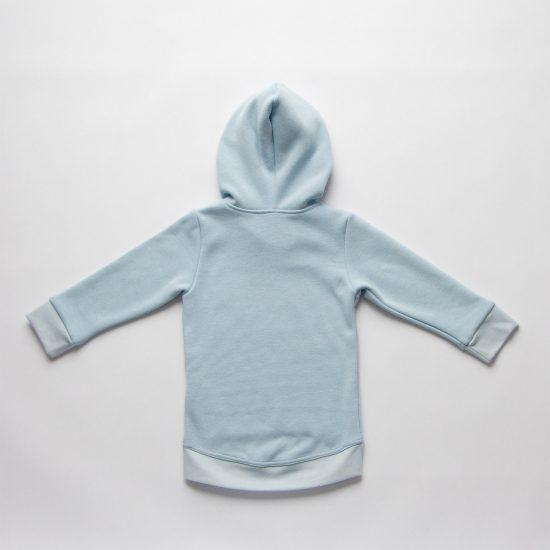 Mikina hoodie winter bledomodrá zadná strana