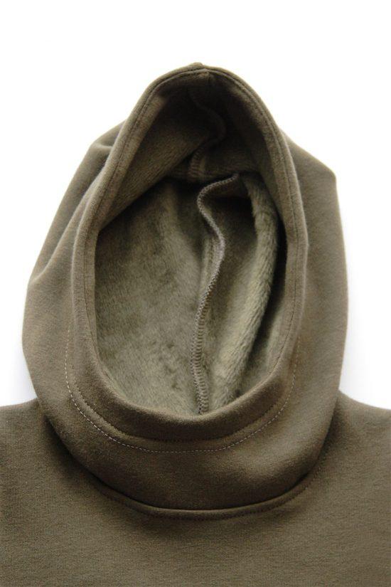 Mikina hoodie winter khaki kapucňa detail