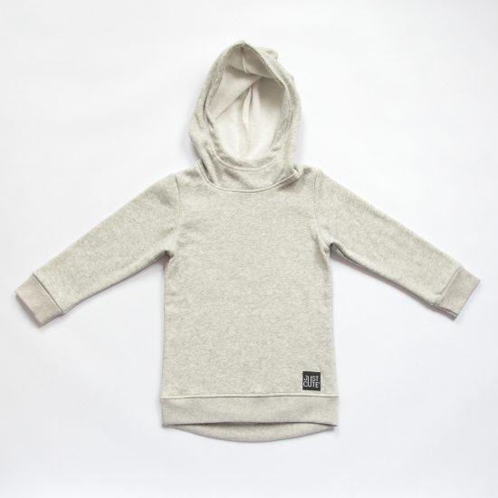Mikina hoodie winter šedý melír
