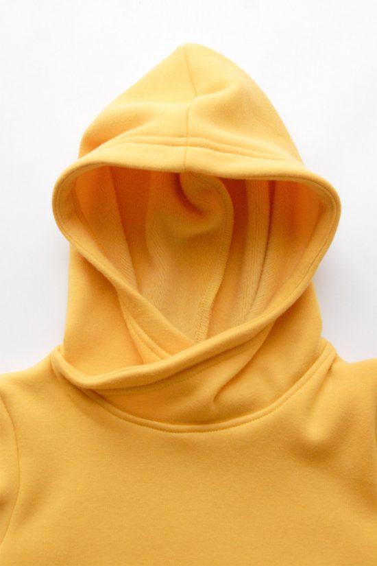 Mikina wrapper winter žltá kapucňa detail