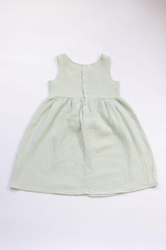 Šaty muslin mint zadná strana