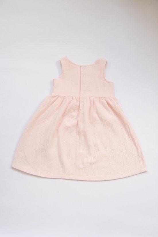 Šaty muslin ružová zadná strana