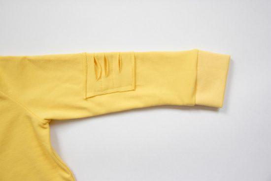 Mikina basic ragged žltá detail rukáv
