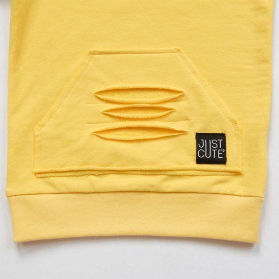 Mikina basic ragged žltá detail vačok