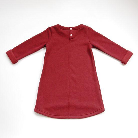 Šaty cute winter bordová zadná strana