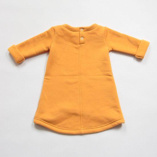 Šaty cute winter horčicová zadná strana