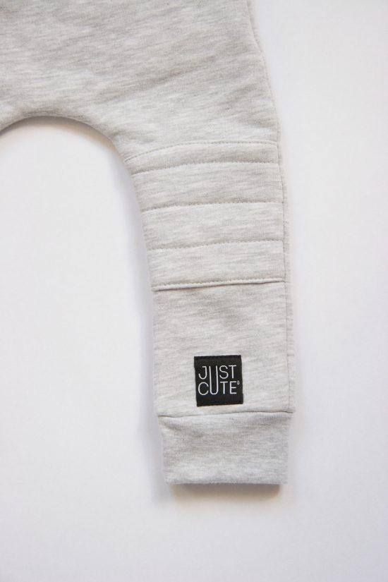 Tepláky patched winter šedý melír detail