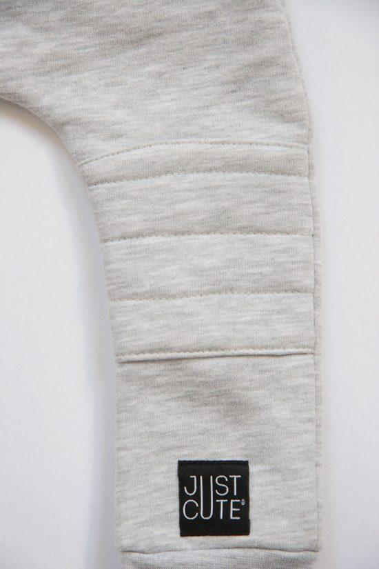 Tepláky patched winter šedý melír detail koleno