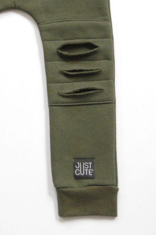 Tepláky ragged winter army zelená detail kolienka